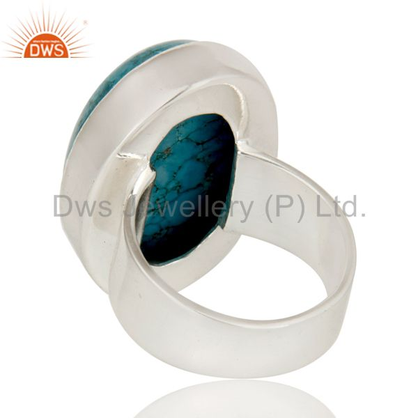 Suppliers Natural Turquoise Gemstone Bezel Set Statement Ring Made In 925 Sterling Silver