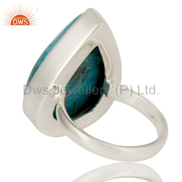 Suppliers Natural Turquoise Gemstone Bezel Set Handmade Sterling Silver Ring