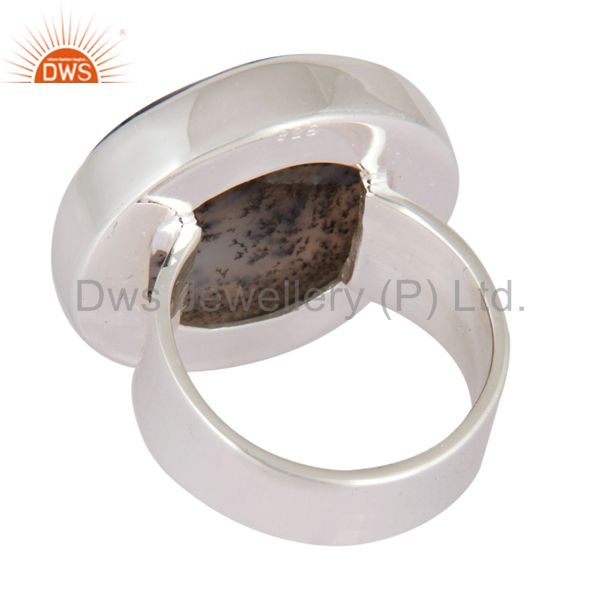 Suppliers Handmade Natural Dendrite Opal Gemstone Solid 925 Sterling Silver Ring