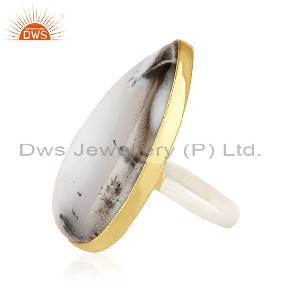 Suppliers 18K Gold Plated & Solid 925 Sterling Silver Handmade Dendritic Opal Unique Ring