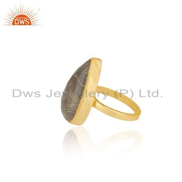 Suppliers Golden Rutile Gemstone 925 Silver Gold Plated 925 Silver Ring For Mens