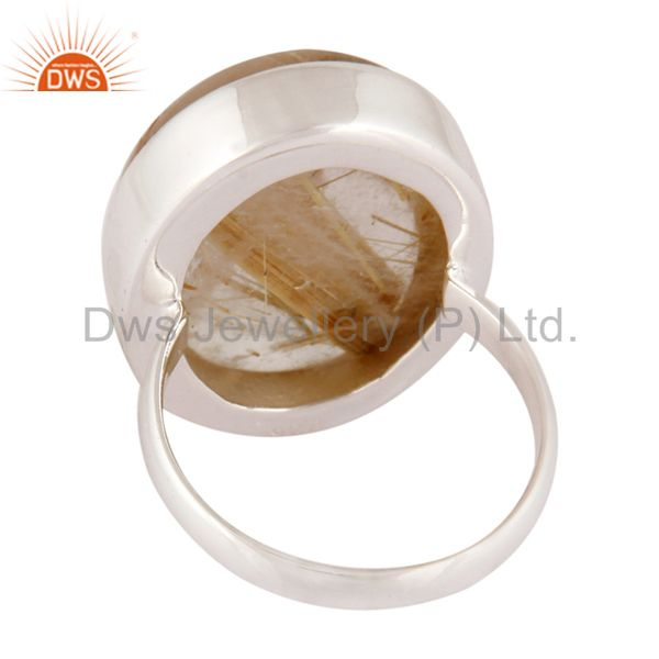 Suppliers 925 Sterling Silver Natural Rutilated Quartz Gemstone Handmade Ring