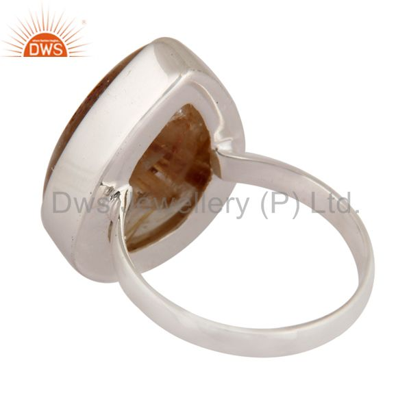 Suppliers Genuine Golden Rutilated Quartz Gemstone 925 Sterling Silver Ring