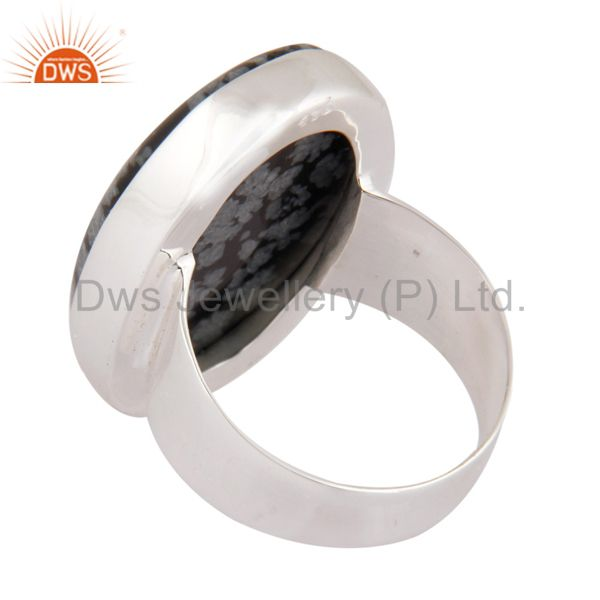 Suppliers Natural Snowflake Obsidian Semi Precious Gemstone Ring Made In Sterling Silver