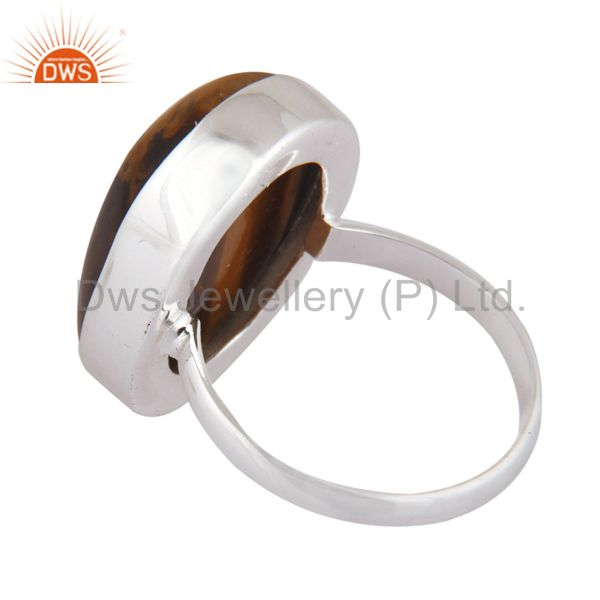 Suppliers Natural Tiger Eye Semi Precious Stone 925 Serling Silver Designer Ring