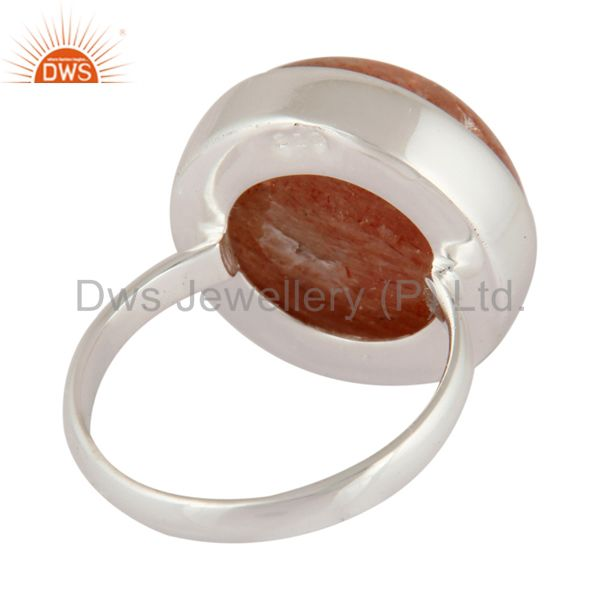 Suppliers Natural Sunstone Gemstone Round Bezel Set 925 Sterling Silver Ring Size 6 US