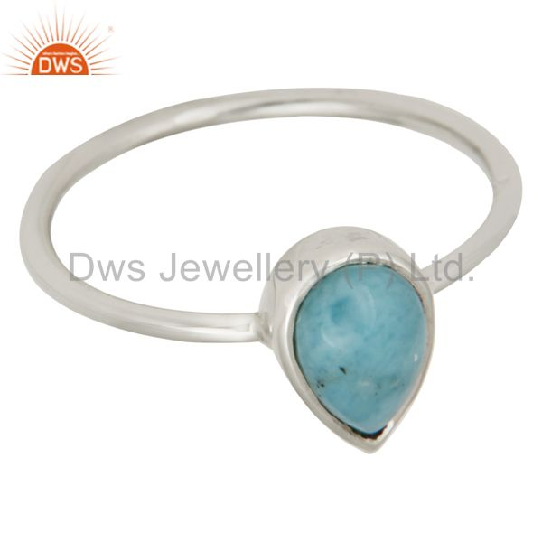 Suppliers Handmade 925 Sterling Silver Natural Larimar Gemstone Stacking Ring