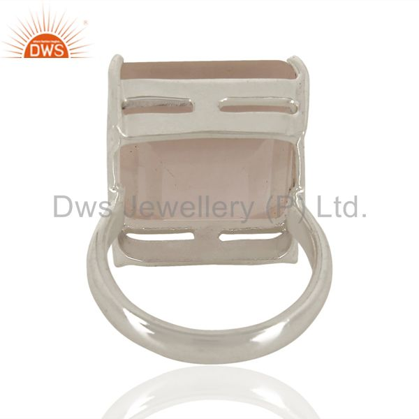 Suppliers 925 Sterling Silver Rose Quartz Gemstone Engagement Wedding Solitaire Ring