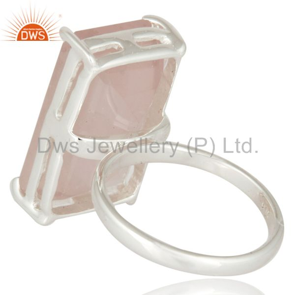 Suppliers Genuine 925 Sterling Silver Natural Faceted Rose Quartz Solitaire Ring