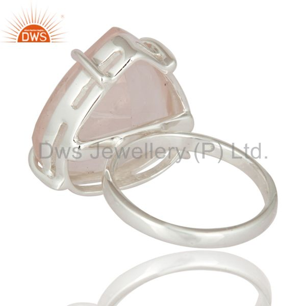 Suppliers 925 Sterling Silver Genuine Faceted Rose Quartz Prong Set Gemstone Ring