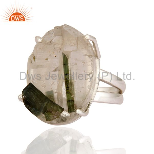 Suppliers Prong Set Natural Tourmaline Rough Gemstone Solid 925 Sterling Silver Ring