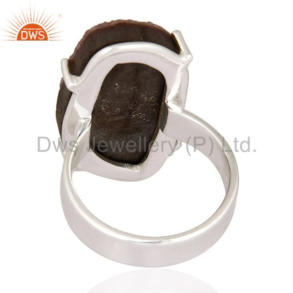 Suppliers Handmade 925 Sterling Silver Prong Set Cobalto Calcite Druzy Ring Size 8 US