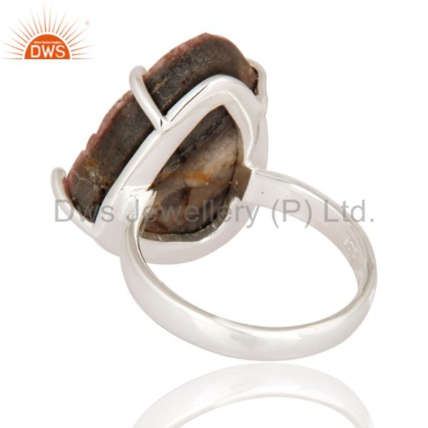 Suppliers Genuine 925 Sterling Silver Natural Cobalto Calcite Druzy Prong Set Ring Jewelry