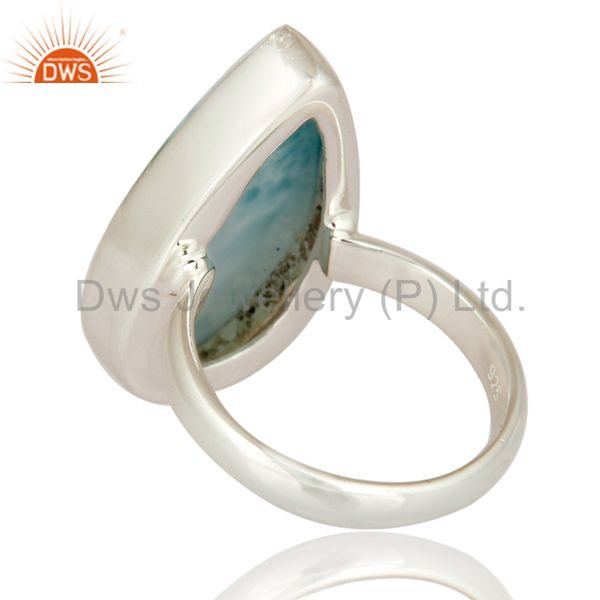 Suppliers Solid 925 Sterling Silver Natural Larimar Gemstone Handmade Ring