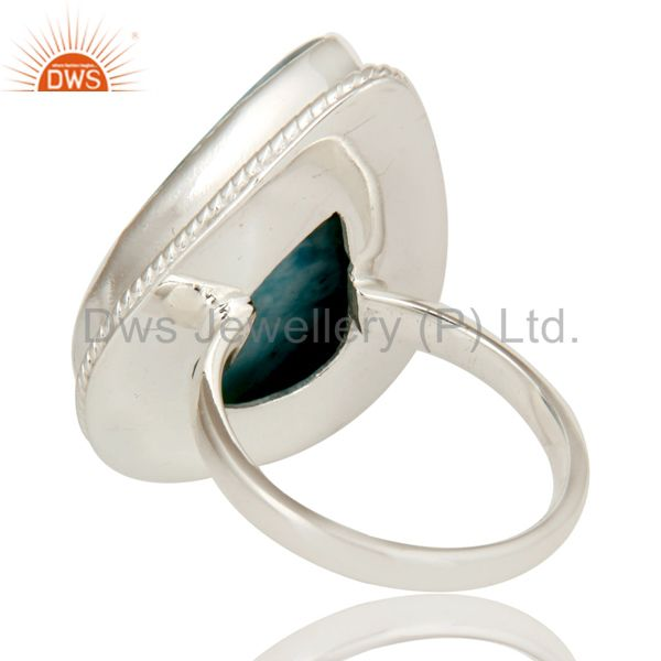 Suppliers Domenican Republican Larimar Bezel Set Solid Sterling Silver Ring Handmade Ring
