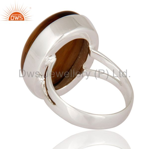 Suppliers Handmade Tiger Eye Gemstone Solid 925 Sterling Silver Ring Size 7 US