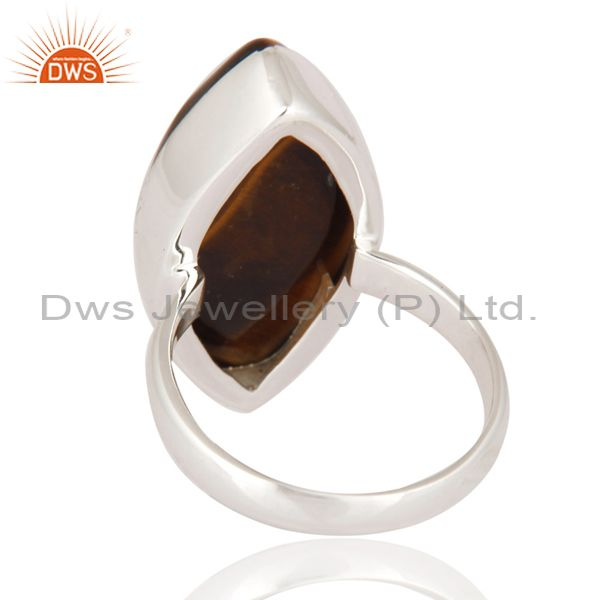 Suppliers Natural Tiger Eye Gemstone Ring Artisan Made 925 Sterling Silver Jewelry