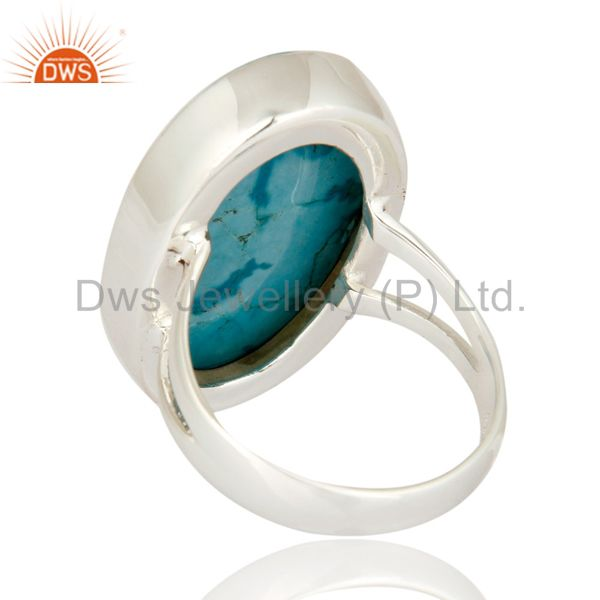 Suppliers Natural Turquoise Gemstone Bezel-Set Ring Made In 925 Sterling Silver