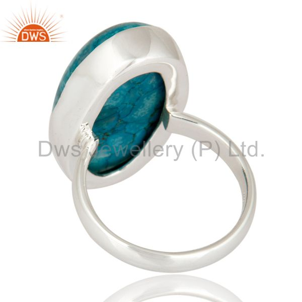 Suppliers Handmade 925 Sterling Silver Genuine Turquoise Cabochon Gemstone Ring Size 8 US