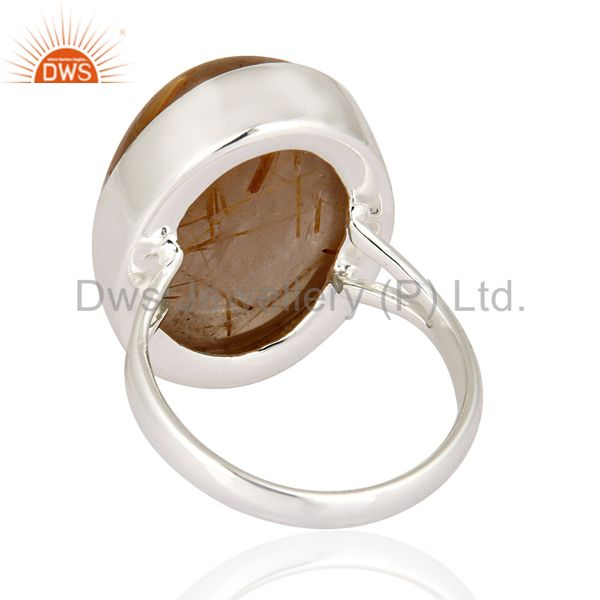 Suppliers High Quality Gemstone Rutilated Quartz 925 Sterling Silver Artisan Crafted Ring