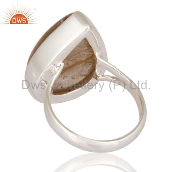 Suppliers Natural Rutilated Quartz Cabochon Gemstone Bezel Set Ring In 925 Sterling Silver