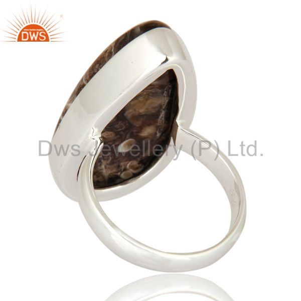 Suppliers Natural Turritella Agate Top Quality 925 Sterling Silver Unique Ring