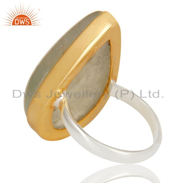 Suppliers 18K Gold Plated Solid 925 Sterling Silver Pear Shape Prehnite Gemstone Ring