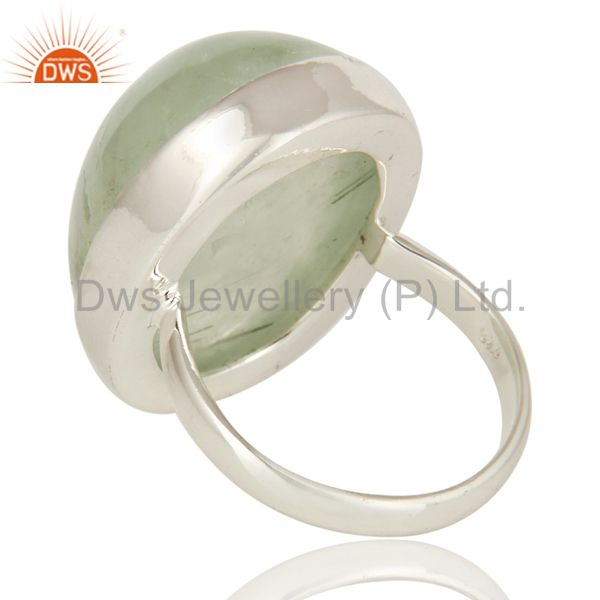 Suppliers Handmade 925 Sterling Silver Natural Prehnite Bezel Set Gemstone Statement Ring