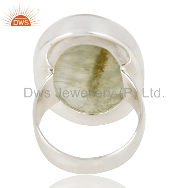 Suppliers Handmade Sterling Silver Natural Prehnite Gemstone Bezel Set Statement Ring
