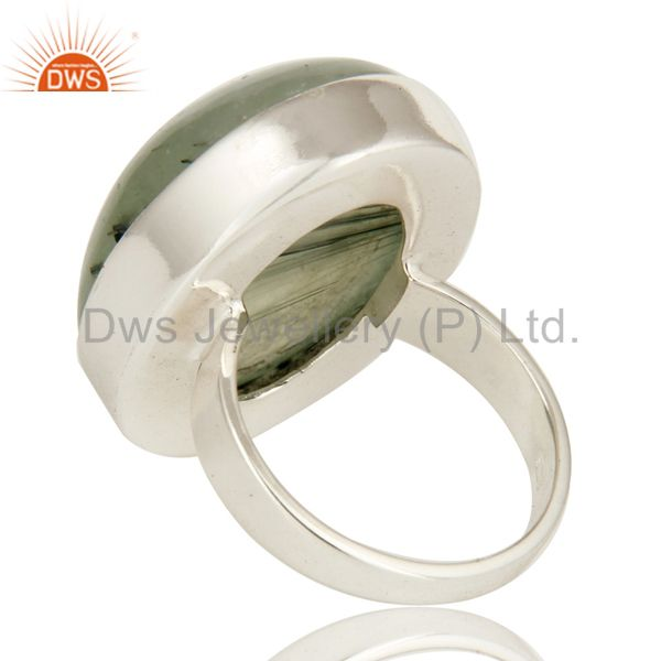 Suppliers Natural Prehnite Bezel Set Oval Gemstone Statement Ring In Sterling Silver