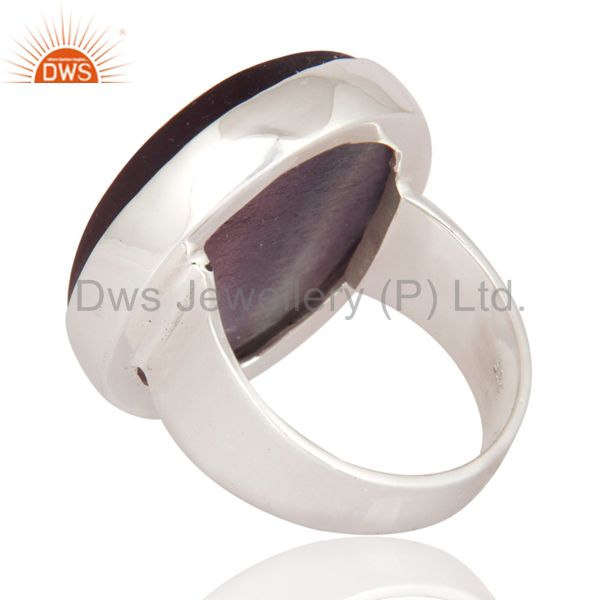 Suppliers Indian Solid 925 Sterling Silver Rainbow Fluorite Gemstone Bezel-Set Ring
