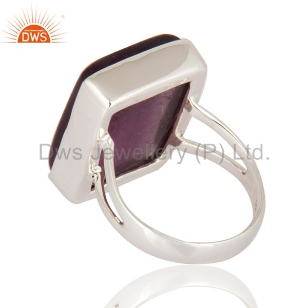Suppliers Natural Rainbow Fluorite Gemstone Nickel Free 925 Sterling Silver Handmade Ring