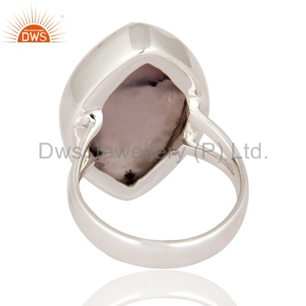 Suppliers Natural Dendritic Opal 925 Sterling Silver Bezel Set Cabochon Gemstone Ring