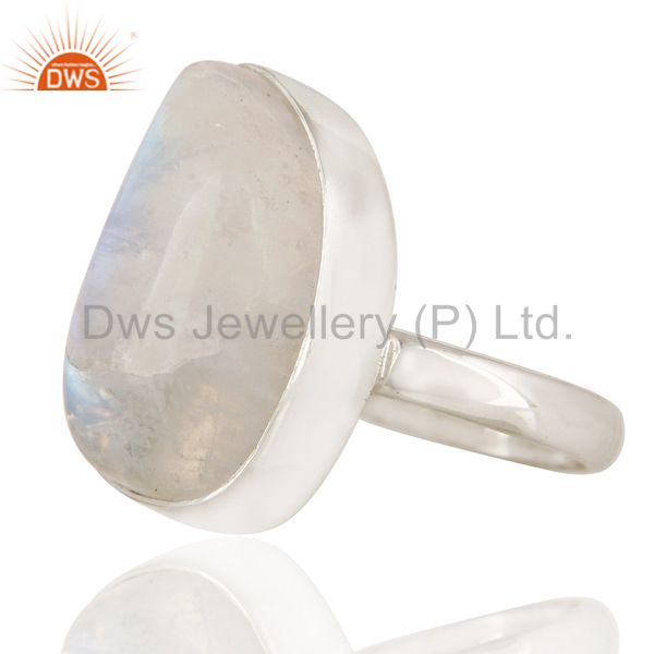 Suppliers Natural Rainbow Moonstone Bezel-Set Sterling Silver Ring