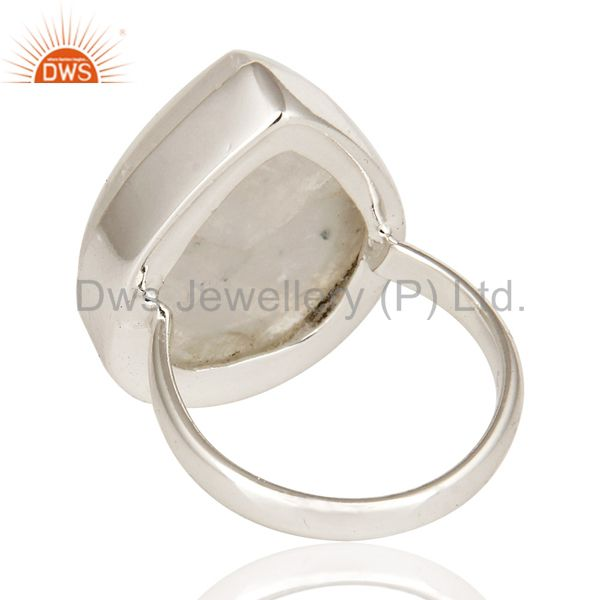 Suppliers Handmade Sterling Silver Natural Rainbow Moonstone Bezel-Set Ring