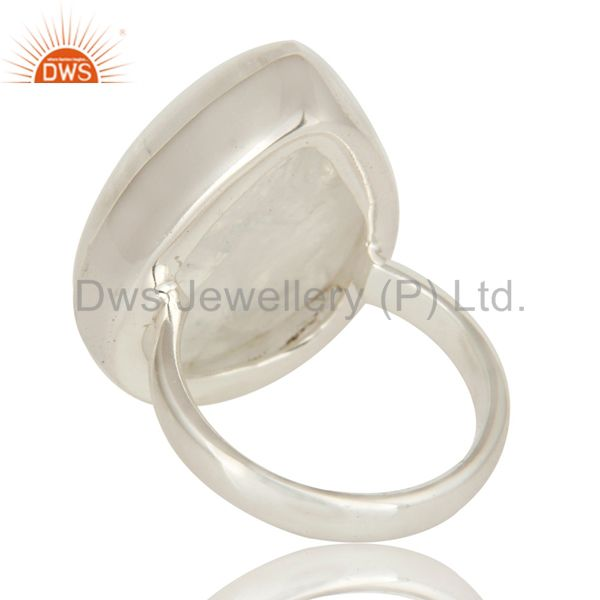 Suppliers Natural Rainbow Moonstone Bezel Set Statement Ring Made In Solid Sterling Silver