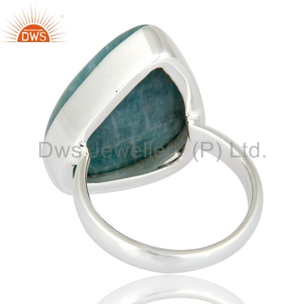 Suppliers Natural Amazonite Gemstone Bezel-Set Handmade Solid Sterling Silver Ring