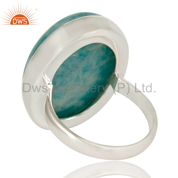 Suppliers Natural Amazonite and Solid Sterling Silver Handmade Bezel Set Ring