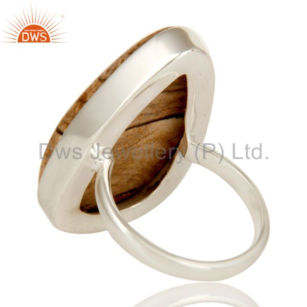 Suppliers Handmade Solid Sterling Silver Picture Jasper Bezel Set Gemstone Cocktail Ring