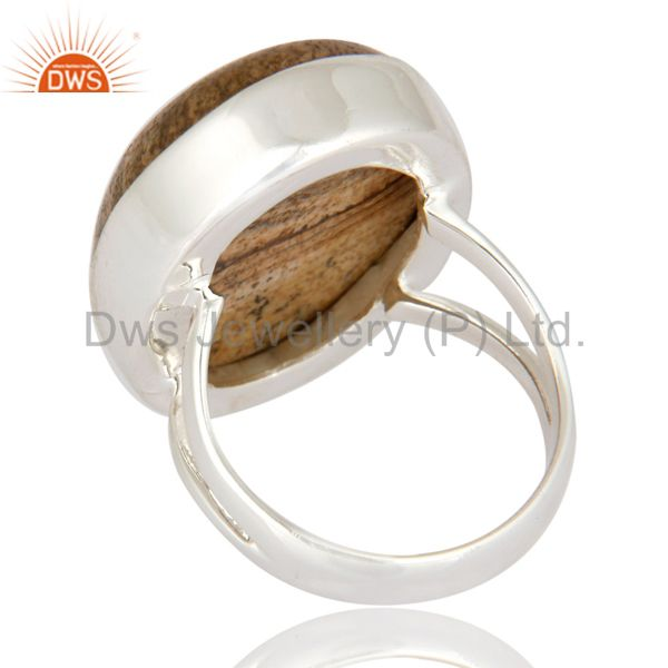 Suppliers Artisan Handcrafted Solid 925 Sterling Silver Ring With Natural Picture Jasper