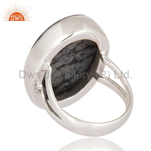 Suppliers Unique Handmade 925 Sterling Silver Ring With Natural Black Obsidian Gemstone