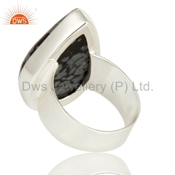 Suppliers Black Obsidian Gemstone Sterling Silver Handmade Bezel Set Ring