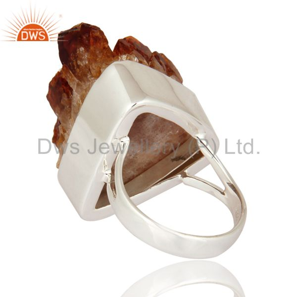 Suppliers Handmade Natural Citrine Druzy Geode 925 Sterling Silver Ring