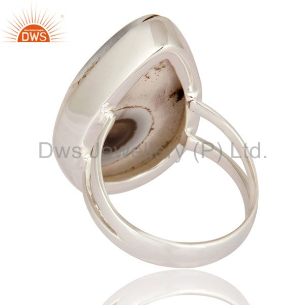 Suppliers White Solar Quartz Stone Bezel Set Gemstone 925 Sterling Silver High Polish Ring