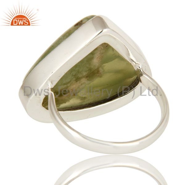 Suppliers Natural Green Lizardite Gemstone Bezel Set Solid Sterling Silver Cocktail Ring