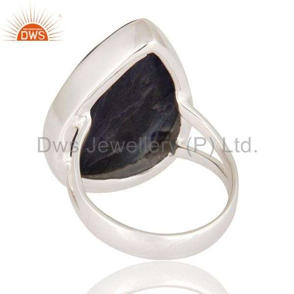 Suppliers Natural Sodalite Gemstone Ring Handcrafted 925 Sterling Silver Jewelry