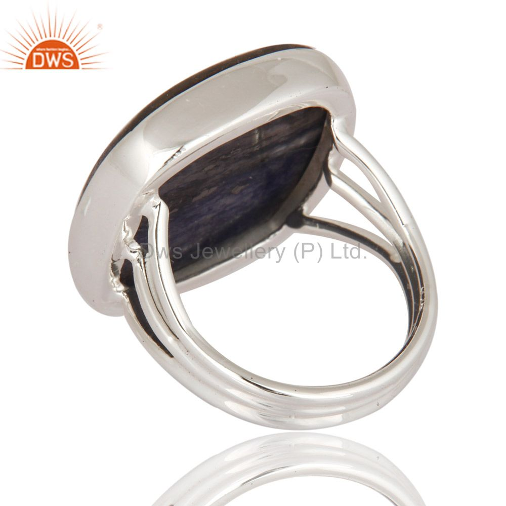 Suppliers Natural Sodalite Gemstone Solid 925 Sterling Silver Ring Handmade Jewelry