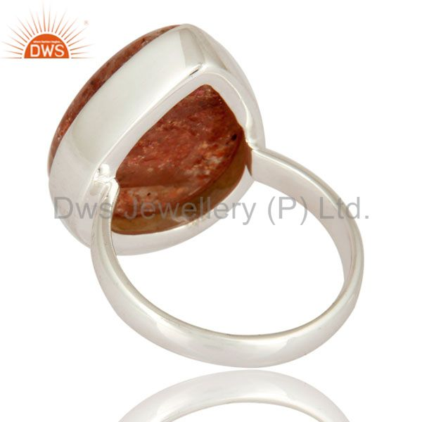 Suppliers Handmade High-Polish Solid 925 Sterling Silver Natural Sunstone Ring