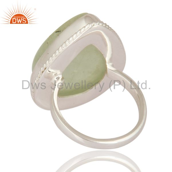 Suppliers Handmade 925 Sterling Silver Designer Ring With Natural Prehnite Gemstone