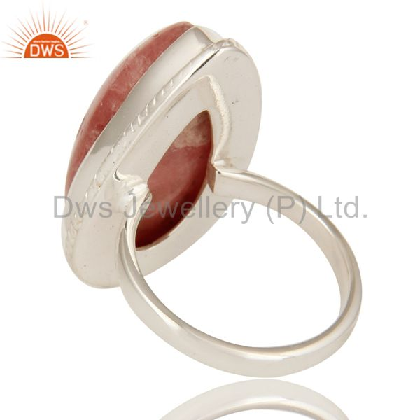 Suppliers Natural Rhodochrosite Gemstone Statement Ring In Sterling Silver